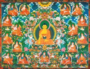 Shakyamuni Buddha and the 17 Pandits of Nalanda